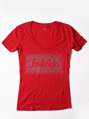 FH002 Glitter V-neck Tee, Red