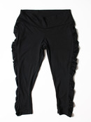 FH009 Cropped Shirred Yoga Pant, Black