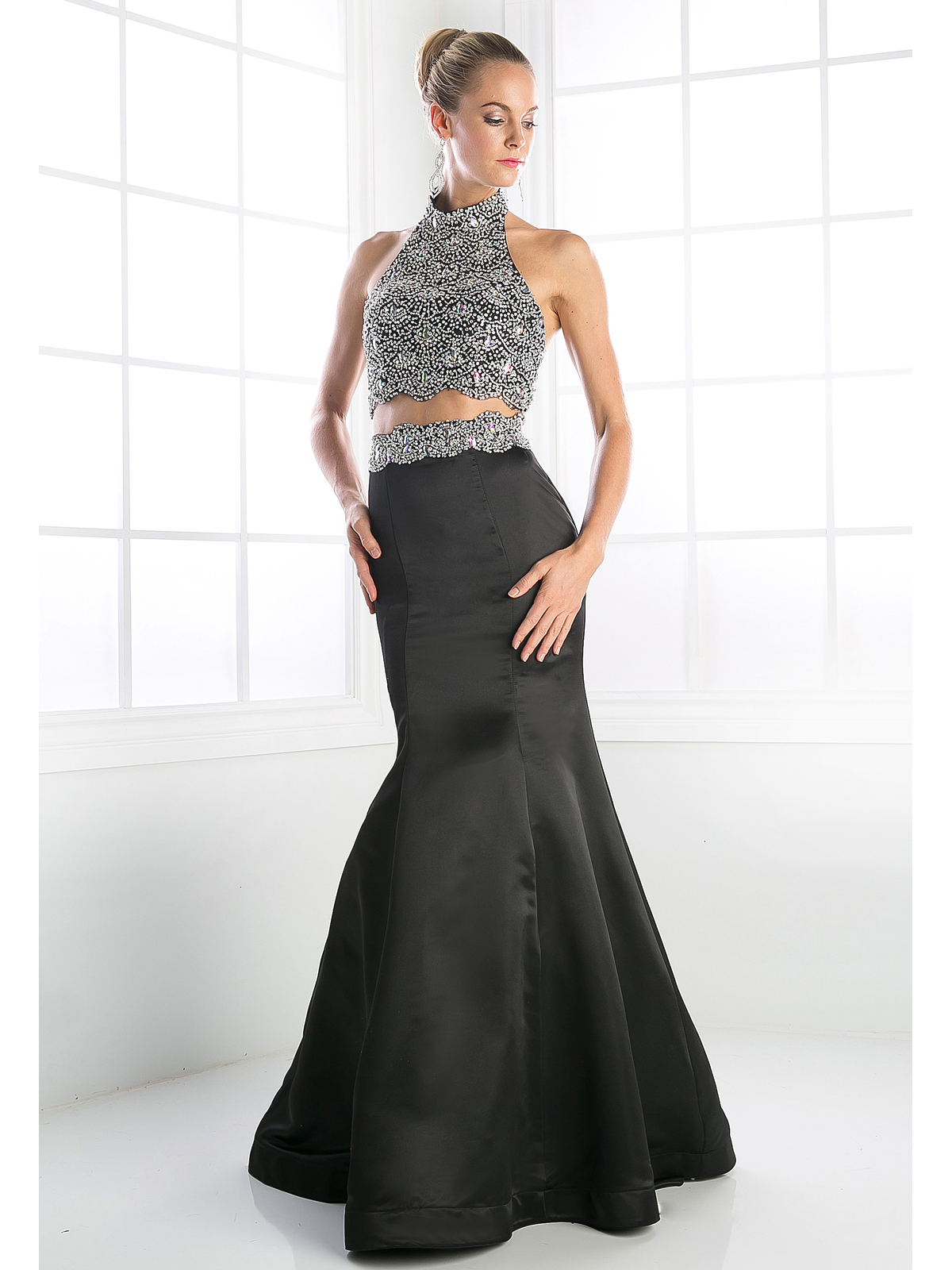Two Piece Beaded Halter Top Trumpet Prom Gown Sung