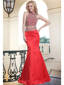 FY-241 Two Piece Beaded Halter Top Trumpet Prom Gown, Red