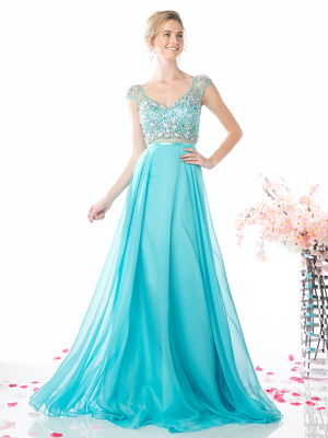 FY-CB757 Cap Sleeve Beaded Top Prom Dress, Aqua