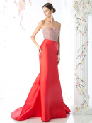 FY-CB760 Strapless Embellished Top Mermaid Gown, Red