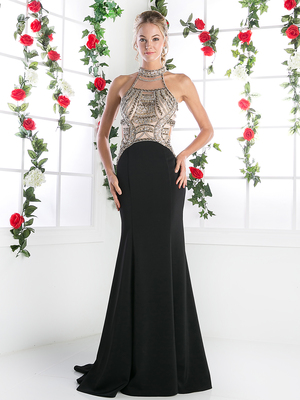 FY-CK23 Halter Top Evening Dress with Open Back, Black