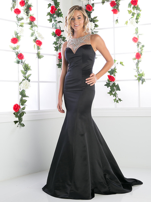 FY-CK36 Trumpet Prom Gown with illusion Neckline, Black