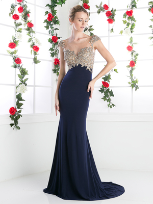 FY-CL105 Cap Sleeve Empire Waist Evening Dress, Navy Gold