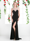 FY-CP804 Jeweled Necklace Long Evening Dress with Train, Black
