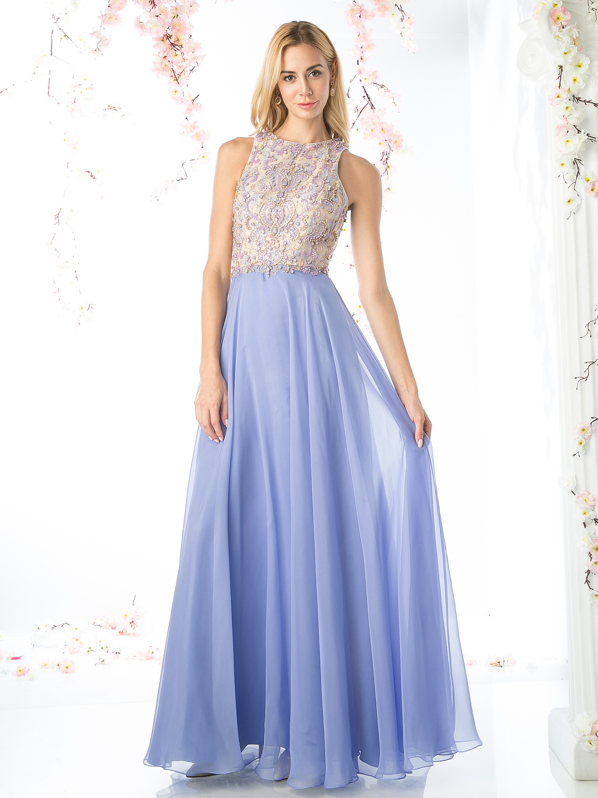High Neck Sleeveless Beaded Bodice Prom Dress | Sung Boutique L.A.