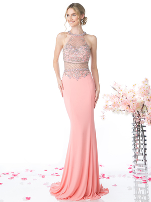 FY-CR720 Halter Illusion Beaded Mermaid Evening Dress, Rose