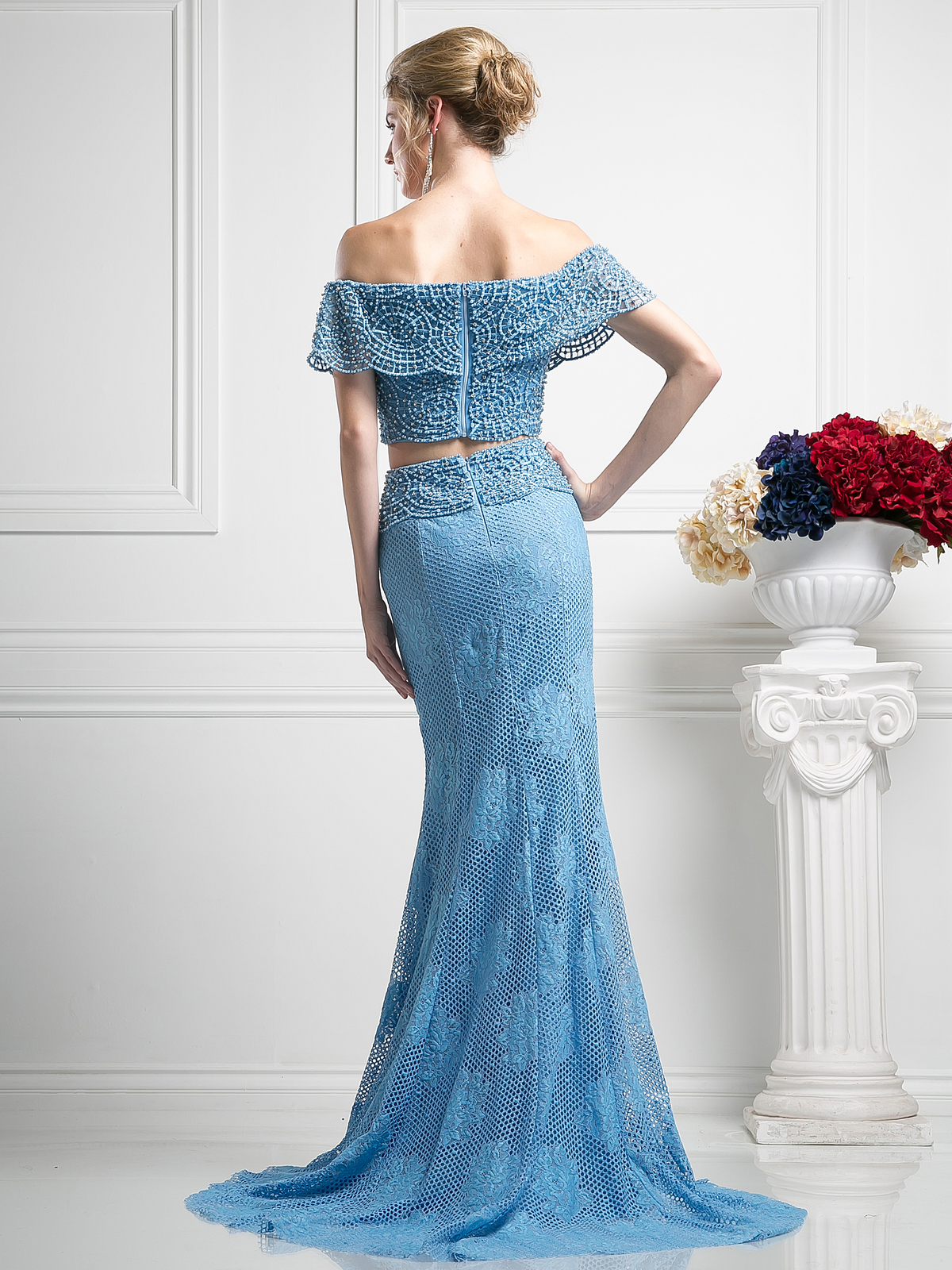 Two Piece Crochet Beading Mermaid Prom Dress | Sung Boutique L.A.