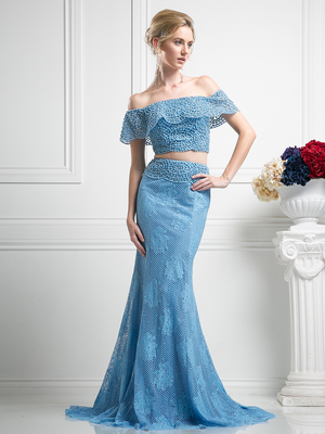 FY-CR755 Two Piece Crochet Beading Mermaid Prom Dress, Perry Blue