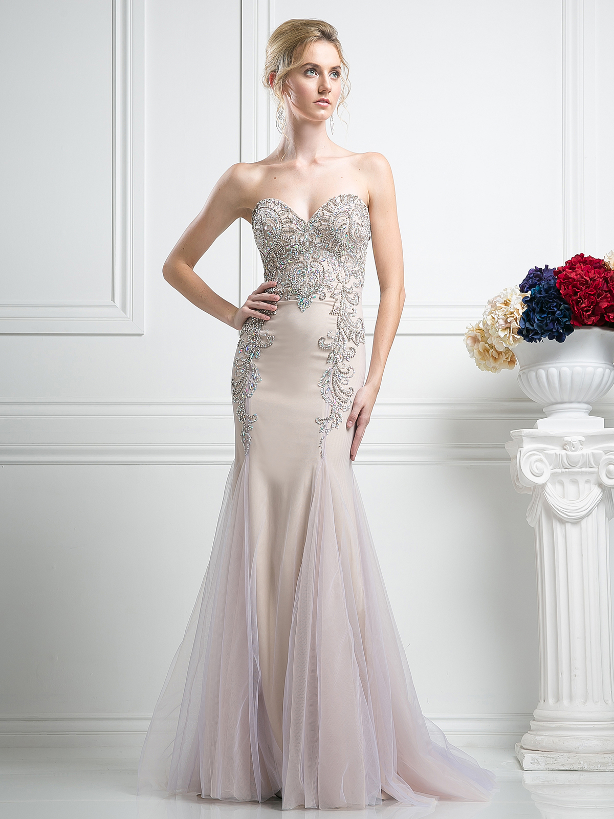 FY F501 Sweetheart Beaded Prom Gown With Godet Hem