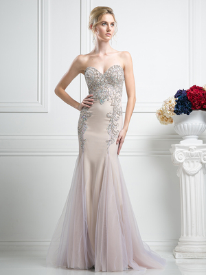 FY-F501 Sweetheart Beaded Prom Gown with Godet Hem, Champagne
