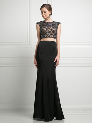 FY-KD036 High Neck Beaded Top Two Piece Evening Dress, Black