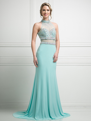 FY-KD087 High Neck Mock Two Piece Evening Gown with Train, Mint