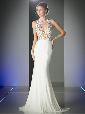 FY-ML6111 Halter Floral Top Evening Dress with Train, Off White