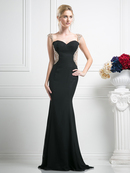 FY-SL772 Cap Sleeve Sweetheart Evening Dress with Mermaid Hem, Black