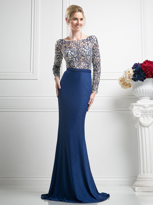 FY-SL775 Illusion Mother of the Bride Dress with Beading, Navy