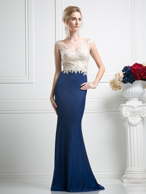 FY-SL776 V-Neck Embroidery Top Evening Dress with Train, Navy