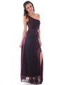 G3819 Shimmer One Shoulder Evening Dress - Magenta, Front View Thumbnail