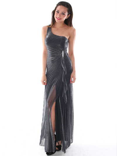 G3819 Shimmer One Shoulder Evening Dress - Silver, Alt View Medium