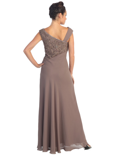 GL1003 Asymmetrical Neckline Evening Dress - Light Brown, Back View Medium