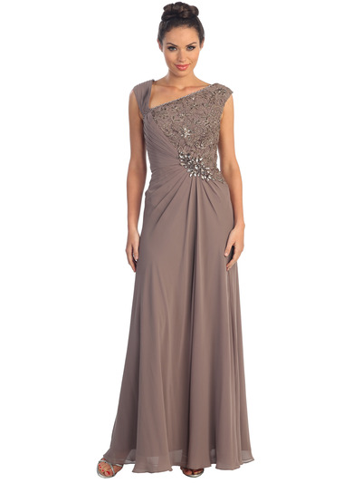 GL1003 Asymmetrical Neckline Evening Dress - Light Brown, Front View Medium