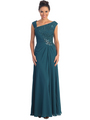 GL1003 Asymmetrical Neckline Evening Dress - Teal, Front View Thumbnail
