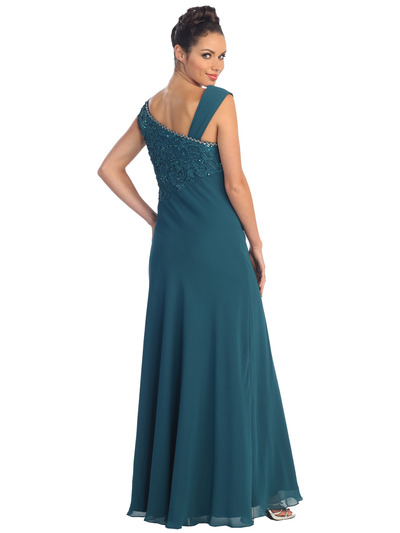 GL1003 Asymmetrical Neckline Evening Dress - Teal, Back View Medium