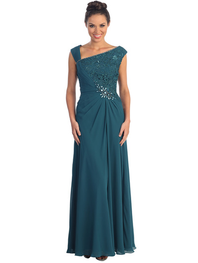 GL1003 Asymmetrical Neckline Evening Dress - Teal, Front View Medium