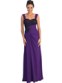 GL1004 Asymmetrical Waist Evening Dress - Purple, Front View Thumbnail