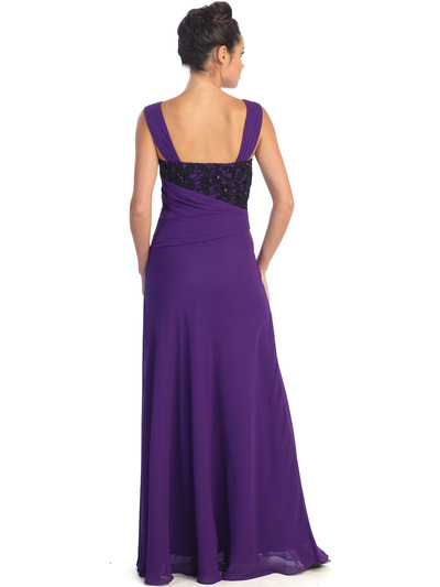 GL1004 Asymmetrical Waist Evening Dress - Purple, Back View Medium