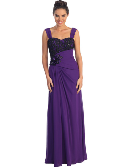GL1004 Asymmetrical Waist Evening Dress - Purple, Front View Medium