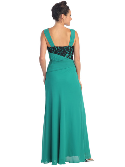 GL1004 Asymmetrical Waist Evening Dress - Teal Green, Back View Medium
