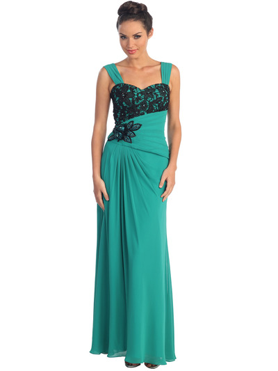 GL1004 Asymmetrical Waist Evening Dress - Teal Green, Front View Medium