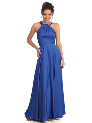 GL1013 Charmeuse Rounded Halter Evening Dress, Royal Blue