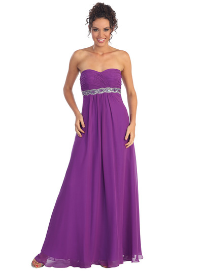 GL1016 Chiffon Empire Waist Evening Dress - Eggplant, Front View Medium