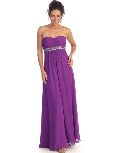 GL1016 Chiffon Empire Waist Evening Dress - Eggplant, Alt View Medium