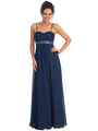 GL1016 Chiffon Empire Waist Evening Dress - Navy, Front View Thumbnail