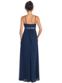 GL1016 Chiffon Empire Waist Evening Dress - Navy, Back View Thumbnail