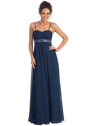 GL1016 Chiffon Empire Waist Evening Dress - Navy, Front View Medium