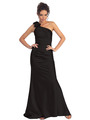 GL1018 One Shoulder Charmeuse Pleated Evening Gown - Black, Front View Thumbnail
