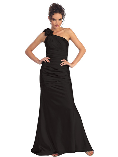 GL1018 One Shoulder Charmeuse Pleated Evening Gown - Black, Front View Medium