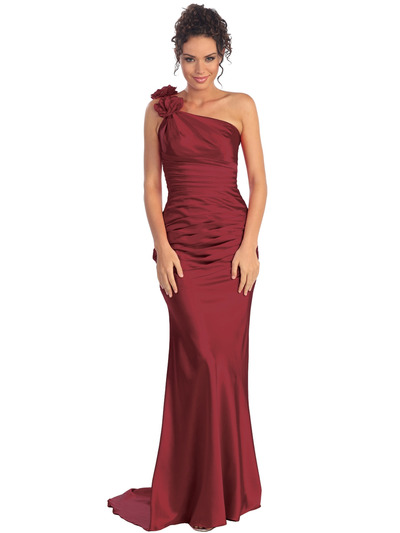 GL1018 One Shoulder Charmeuse Pleated Evening Gown - Burgundy, Front View Medium