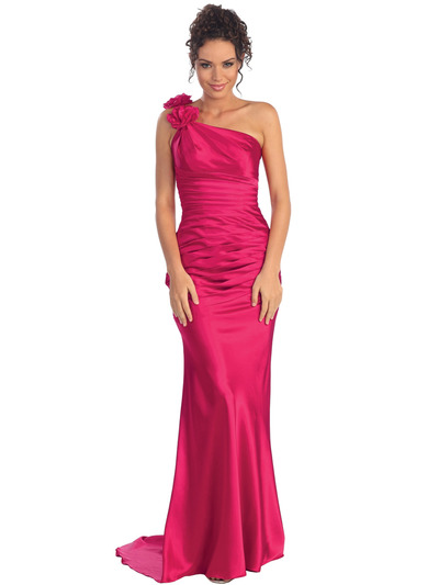 GL1018 One Shoulder Charmeuse Pleated Evening Gown - Fuschia, Front View Medium