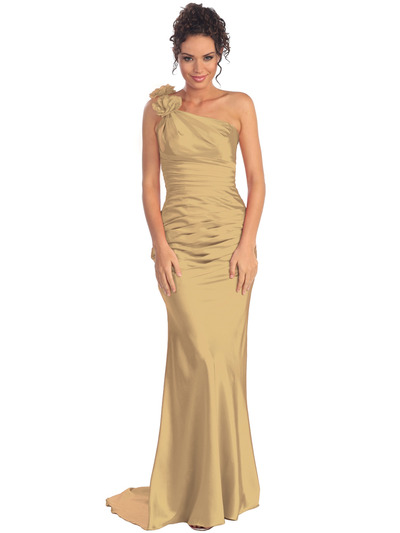 GL1018 One Shoulder Charmeuse Pleated Evening Gown - Gold, Front View Medium