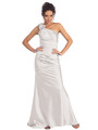 GL1018 One Shoulder Charmeuse Pleated Evening Gown - Ivory, Front View Thumbnail