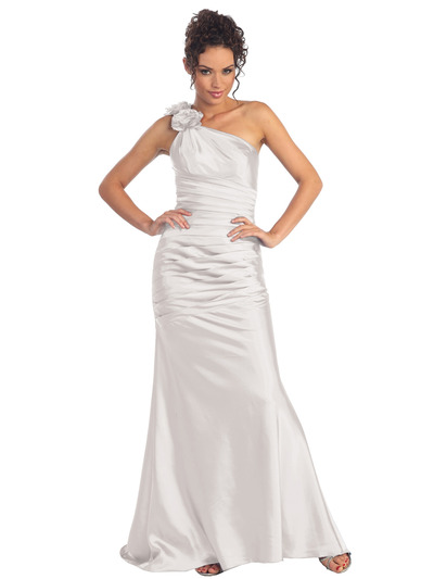 GL1018 One Shoulder Charmeuse Pleated Evening Gown - Ivory, Front View Medium