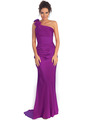 GL1018 One Shoulder Charmeuse Pleated Evening Gown - Purple, Front View Thumbnail