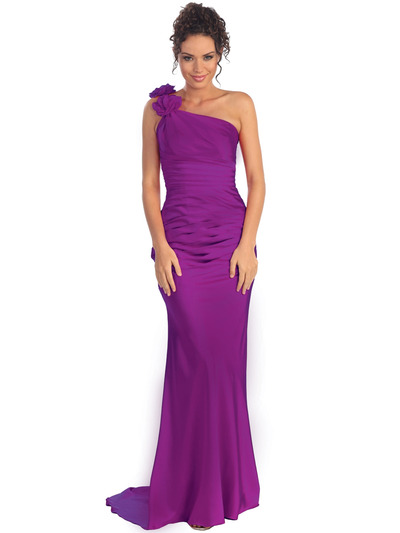 GL1018 One Shoulder Charmeuse Pleated Evening Gown - Purple, Front View Medium