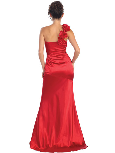GL1018 One Shoulder Charmeuse Pleated Evening Gown - Red, Back View Medium